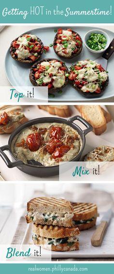 Grilled Stuffed Portobello Mushrooms, Three Cheese Bruchetta Dip, Alfredo Florentine Chicken Panini #grill #summer