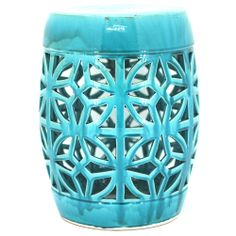 Turquoise Ceramic Stool - Ceramic Home - Temple & Webster presents