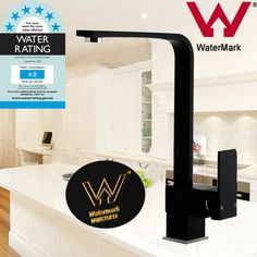 Watermark WELS Matte Black Brass Square Kitchen Basin Sink Mixer Tap Faucet NEW