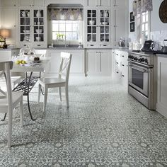 Flooring for a kitchen or living area: Moroccan-style Filigree luxury vinyl flooring from Mannington - Retro Renovation Mannington Vinyl Flooring, Vinyl Sheet Flooring, Vinyl Flooring Kitchen, Luxury Vinyl Tile Flooring, Kitchen Vinyl, Luxury Vinyl Plank, Kitchen Tiles, New Kitchen, 1970s Kitchen