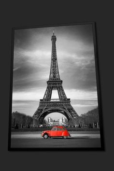Tableau Photo Encadré - Tableau Citroën 2CV Rouge et Tour Eiffel en Noir et Blanc