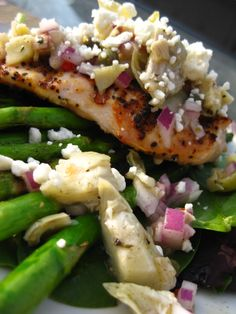 Something about this just screams spring: Lemon Pepper Chicken with Artichoke Salsa & Roasted Asparagus