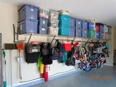 Love the shelving that runs the length of the garage