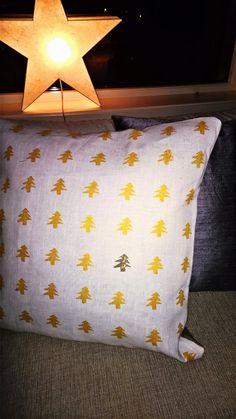 Potettrykk på linstoff ble til pute #potatostamping #pillow