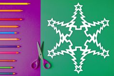 Easy-to-follow paper snowflake pattern with steps on how to fold & cut out a snowflake that looks like a Christmas tree! $1 PDF Download to print out at home and create a cute, one-of-kind paper snowflake. Perfect for arts & crafts, holiday decorations, homeschool art lessons, gifts, table decor, and more. #snowflake #papersnowflake #papersnowflakes #snowflakes #pattern #DIY #Christmas #xmas #snowflakepattern #papersnowflakepattern #pattern #template #tree #christmastree #xmastree Paper Snowflake Template, Paper Snowflake Patterns, Paper Snowflakes, Print And Cut, Xmas Tree, Art Lessons, Arts And Crafts, Templates, Table Decorations
