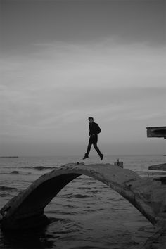 jumping on some old ruins at the Black Sea. jacket from Pierre Cardin, trousers from Zara, shoes from Zara Black Sea, Black And White, Calvin Klein 2, Black Trousers, Zara Shoes, Pierre Cardin, Bridges, Art Pictures, Jumper