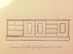 Drawing for sideboard cabinet. Painted finish by hand. Built In Bookcase, Bookcases, Built In Furniture, Sideboard Cabinet, Lounge Ideas, Paint Finishes, How To Draw Hands, Sketch, Interior Design