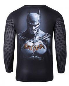 Black Batman long sleeve shirt for men superhero cosplay costume