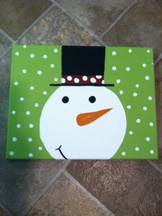 11x14 Hand Painted Wrapped Canvas Snowman by PaintingsbyStacey, $13.00
