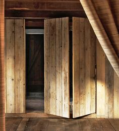Closet doors, for office. Easy to get bins that are stored in closet. I like the rustic look