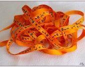 1 mètre de Ruban orange Boo fantôme halloween 10mm : Rubans, ribbons biais pour bijoux par lilycherry