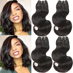 Urbeauty Hair Brazilian Body Wave Human Hair 4 Bundles Virgin Brazilian Hair Body Wave Short Human Hair Weave Bundles Natural Color Can be Dyed 50g/pc Full Head (8 8 8 8) Sale: $26.90