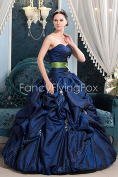 Affordable Sweetheart Neckline Ball Gown Full Length Dark Navy Quinceanera Dresses With Bubble Embellishment at fancyflyingfox.com