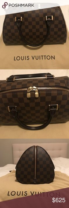 Louis Vuitton Damier Ribera MM This versatile everyday bag features a roomy interior that's accessed through a large double zipped opening. The exterior shape features a striking profile that's an elegant alternative to the Louis Vuitton Speedy. Retail price is $1210  The goldtone hardware has very light surface scratches. The interior is clean and in excellent condition. Inside is like new. Please contact me if you'd like more photos. Thanks for viewing! Louis Vuitton Bags Totes