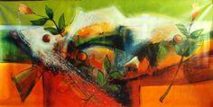 """Excelente obra de arte en venta del maestro JESUS OVALLES, Titulo: """"Pez sobre ocaso"""". técnica mixta, acrilico/lienzo Se exhibe en la Galeria, Venezuela, estado Anzoátegui"""
