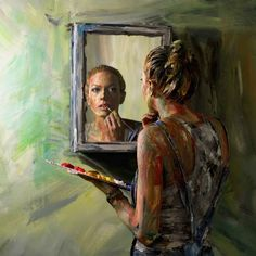 21 Female Artists Reflect on the Origins of Self-Portraiture - Effektive Bilder, - Mirror Painting, Mirror Art, Painting Art, Space Painting, Painting Abstract, Acrylic Paintings, Woman Painting, Abstract Landscape, Inspiration Art