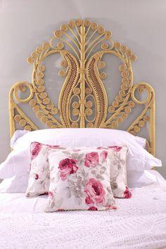 New Peacock Rattan Ornate Vintage Style Bed Headboard Wicker Dresser, Wicker Trunk, Wicker Headboard, Wicker Bedroom, Wicker Table, Wicker Sofa, Wicker Furniture, Headboards For Beds, Wicker Baskets
