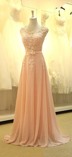 Pink Chiffon Floor Length Prom Dress jaglady