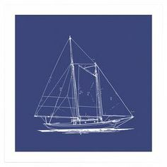 """Add a touch of nautical flair to your foyer, living room, or home office with the gallery-worthy framed print, showcasing a blueprint-inspired sailboat motif in a blue and white palette.   Product: Framed printConstruction Material: Framed: Wood, glass and acid-free paperUnframed: Acid-free paperColor: White frameFeatures:  Made in the USADeckled edgeSailboat motifDimensions: 19"""" H x 19"""" W x 2"""" D"""