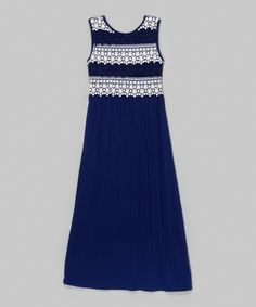 This Btween Navy Lace-Overlay Maxi Dress by Btween is perfect! #zulilyfinds
