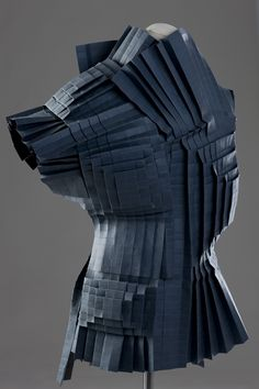 Architectural Fashion - pleated paper fashion with 3D textures - wearable art; sculptural fashion // Morana Kranjec