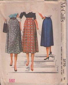 McCall's 3770 Vintage 50's Sewing Pattern PRETTY Easy To Sew Flattering Smooth Panel Afternoon Skirt