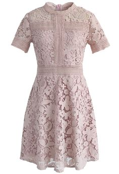 Time to lather yourself in a little pink and lace! This shift dress brings all of those gorgeous elements together for a sweet, easy-to-style spring look. - Full floral crochet finished - Eyelet detail - Concealed back zip closure - Lined - 100% polyester - Hand wash