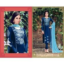 Priyank Creation Blue Embroidered Cotton Unstitched Straight Salwar Suit With…