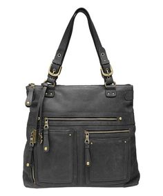 Black Cargo Fold-Over Leather Shoulder Bag by Lucky Brand