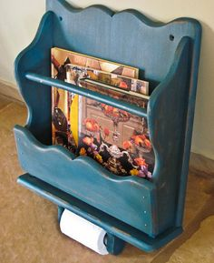 Shabby Chic Magazine Rack And Paper Holder Wall Mount Distressed In Teal By…