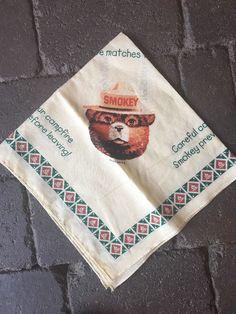 "Vintage Smokey the Bear Bandana Handkerchief Scarf/Cotton/Fire Fighter/21"" x 21""  | eBay"