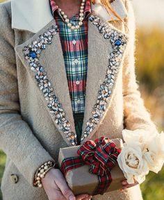 Rhinestone collared coat