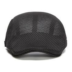 b6d98985c09 Men Summer Mesh Beret Cap Breathable Visor Flat Hat Adjustable Solid Color  Newboy Hat is hot sale on Newchic Mobile.
