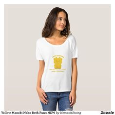 Yellow Maneki Neko Both Paws NEW T-Shirt