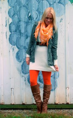 Now this is an interesting mix of colors. Think I need some orange tights now for my brown boots!!