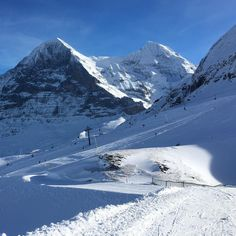 """""""Perfect skiing conditions in front of the Eiger North-Face and Moench. #wengen #switzerland…"""""""