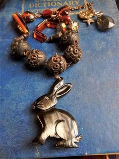 antique beads amber glass horn rabbit necklace, 1800s rosary, french nuns carved wooden beads, animal jewelry, bunny, rabbits, nature lover, Gifts For Nature Lovers, Lovers Gift, Metal Beads, Wooden Beads, London Style, Bunny Rabbits, Funky Jewelry, Murano Glass Beads, Copper Color