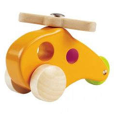 This simple helicopter features small holes that serve both as windows and as an easy for your toddler to grab hold. The top propeller spins and wheels roll for a smoothing landing. Wood for this toy comes from an FSC-managed forest accented with water-based paint and is made to meet the strictest of safety standards