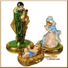 Holy Family Nativity 3-Piece Limoges Box Set (Beauchamp)