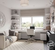 45 Fantastic Computer Gaming Room Decor Ideas and Design - Googodecor Guest Room Office, Home Office Space, Home Office Design, Home Office Decor, Bedroom Office Combo, Small Bedroom Office, Small Home Offices, Desk Layout, Apartment Interior