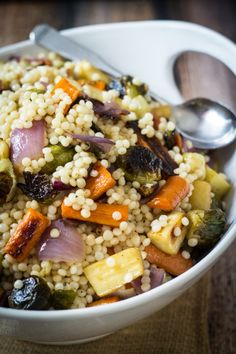 Warm Israeli Couscous Salad with Roasted Vegetables