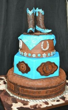 Absolutely GORGEOUS turquoise and brown cowgirl birthday cake . Nov Absolutely GORGEOUS turquoise and brown cowgirl birthday cake - completely in love Western Birthday Cakes, Western Wedding Cakes, Western Cakes, Country Wedding Cakes, Horse Birthday, 16th Birthday, Cowgirl Wedding, Cowgirl Party, Cake Birthday