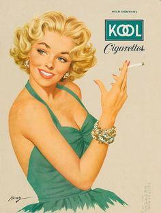 1950s Kool cigarettes advertisement. Illustration by Ben-Hur Baz;