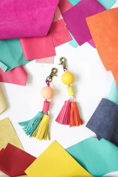 Leather and Wood Bead Tassels