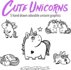 Licorne mignon Clip Art Set, licornes mignon dessiné à la main, dessinés à la main Clip Art, ensemble de Illustration Licorne, licorne Adorable Clip Art Set