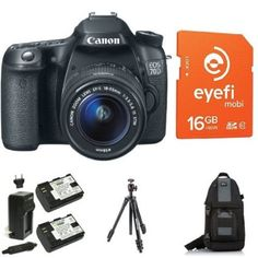 Canon EOS 70D Digital SLR Camera with 18-55mm STM Lens + Eye-Fi Memory Card, Bag, Battery and Tripod