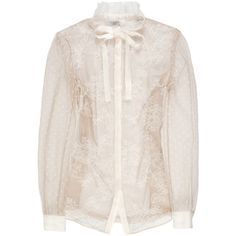 Valentino Sheer lace blouse (£340) ❤ liked on Polyvore featuring tops, blouses, valentino, shirts, ruffle collar blouse, pink long sleeve shirt, pink shirts, neck-tie and valentino blouse