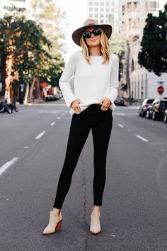 Fashion Jackson Wearing Ann Taylor Floppy Wool Hat Ann Taylor White Sweater Black Skinny Jeans Tan Booties Fall Outfit