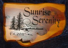 Cedar Sign 18 Inch   Sunrise Serenity Est. 2011 Lake and Cabin Scene   Cedar Slab Sign | Cedar Signs by CedarSlabSigns.com Lake House Signs, Cabin Signs, Cottage Signs, Home Signs, Property Signs, Camper Signs, Personalized Signs, Serenity, Sunrise