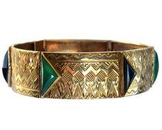 1920s Austrian Art Deco Bracelet, Black and Green Onyx, 14K Gold